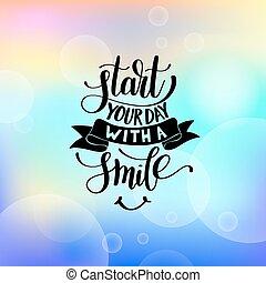 start, dein, tag, mit, a, lächeln, vektor, text, phrase, abbildung