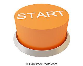 Start - 3d image of button Start. White background.