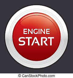 Start engine button. Red round sticker.