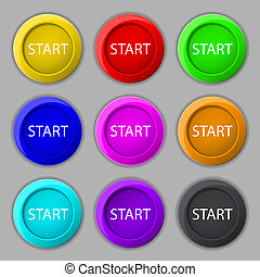 Start engine sign icon. Power button. Set of colored buttons.
