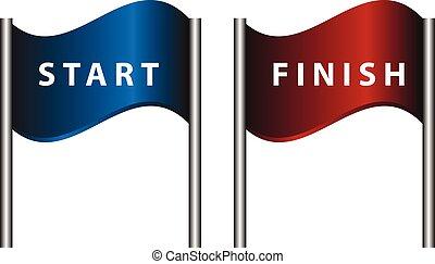 Start finish flags vector illustration.