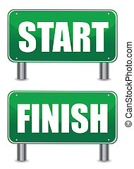 start finish illustration banners