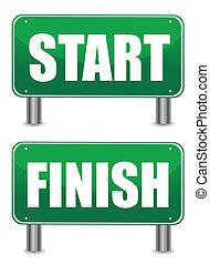 start finish illustration banners design