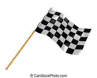 start flag - 3d illustration of start flag isolated over...