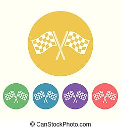 Start flags set of vector colored round icons