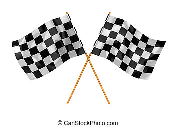 start flags - 3d illustration of two crossed start flags,...