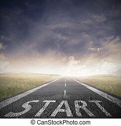 start, gerade, geschaeftswelt