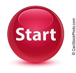 Start glassy pink round button