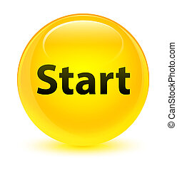 Start glassy yellow round button