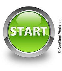 Start glossy icon - Start icon on glossy green round button