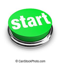 start, -, grön, knapp