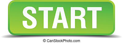 Start green 3d realistic square isolated button