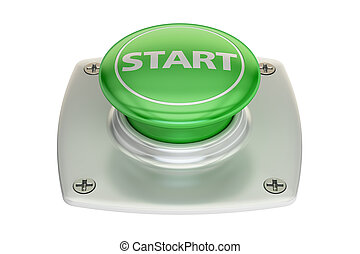 Start green button, 3D rendering