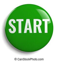 Start Green Button Round Icon