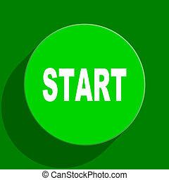 start green flat icon