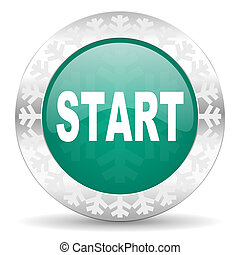 start green icon, christmas button