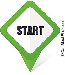 Start green square pointer vector icon in eps 10 on white background with shadow.