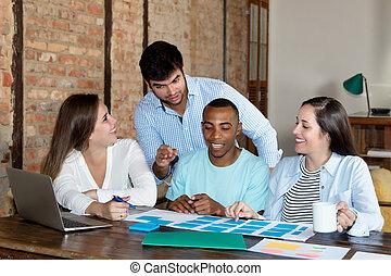 start, handel team, op het werk, op, kantoor
