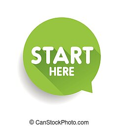 Start here button speech bubble green