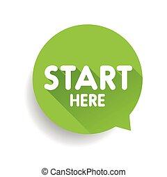 Start here button speech bubble green