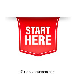 Start here red ribbon in flat style on white background. Vector illustration.