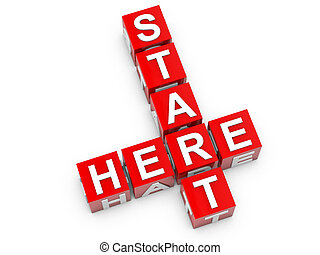 Start here red cubes over white background