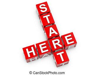 Start Here - Start here red cubes over white background