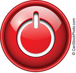 Power on, start icon, button, 3d red glossy circle.