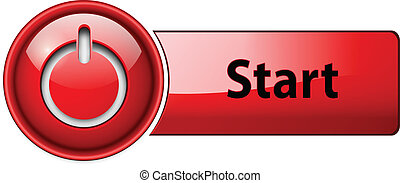 Start icon button. - Start icon button, red glossy.