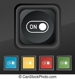 start icon symbol. Set of five colorful, stylish buttons on black texture for your design. Vector