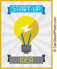 start, idea., retro, poster, in, plat, ontwerp, style.