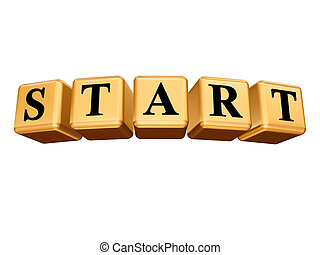 start in golden cubes isolated - start - text in 3d golden...
