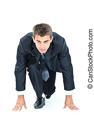 start, jouw, zakelijk, -, zakenmens , gereed, te beginnen, lopen over, witte