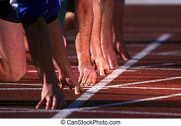 start linje, løbere, oppe, race.