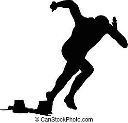 start men runner of sprint in starting blocks. black...