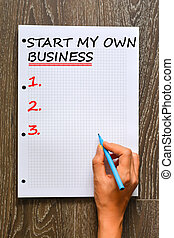 Start my own business concept