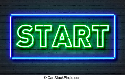 Start neon sign on brick wall background.