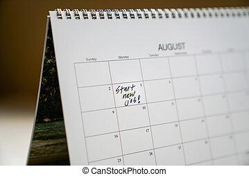 Start new job recorded in calendar