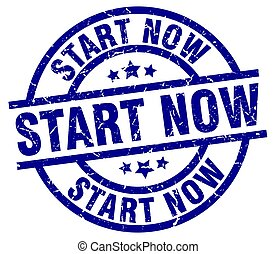 start now blue round grunge stamp