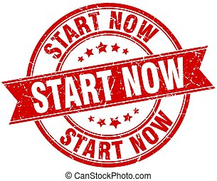 start now round grunge ribbon stamp