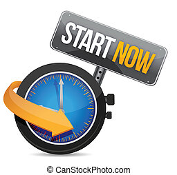 start now watch illustration design over a white background