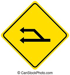 Start of a passing lane yellow sign on white background