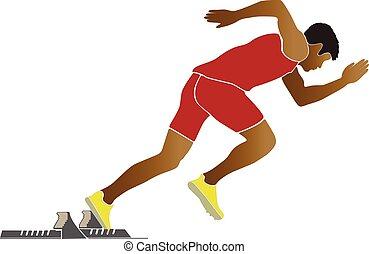 start of sprinter runner starting blocks vector illustration