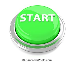 START on green push button. 3d illustration. Isolated background.