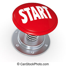 Start - one push button with the text: start (3d render)