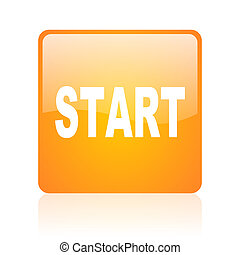 start orange square glossy web icon