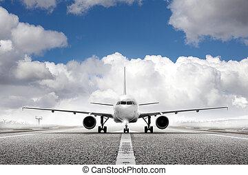 start, plan, in, flygplats