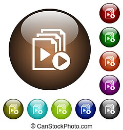 Start playlist color glass buttons