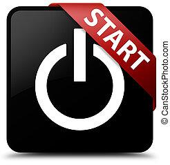 Start (power icon) black square button red ribbon in corner