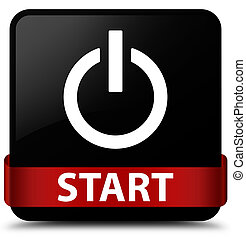 Start (power icon) black square button red ribbon in middle